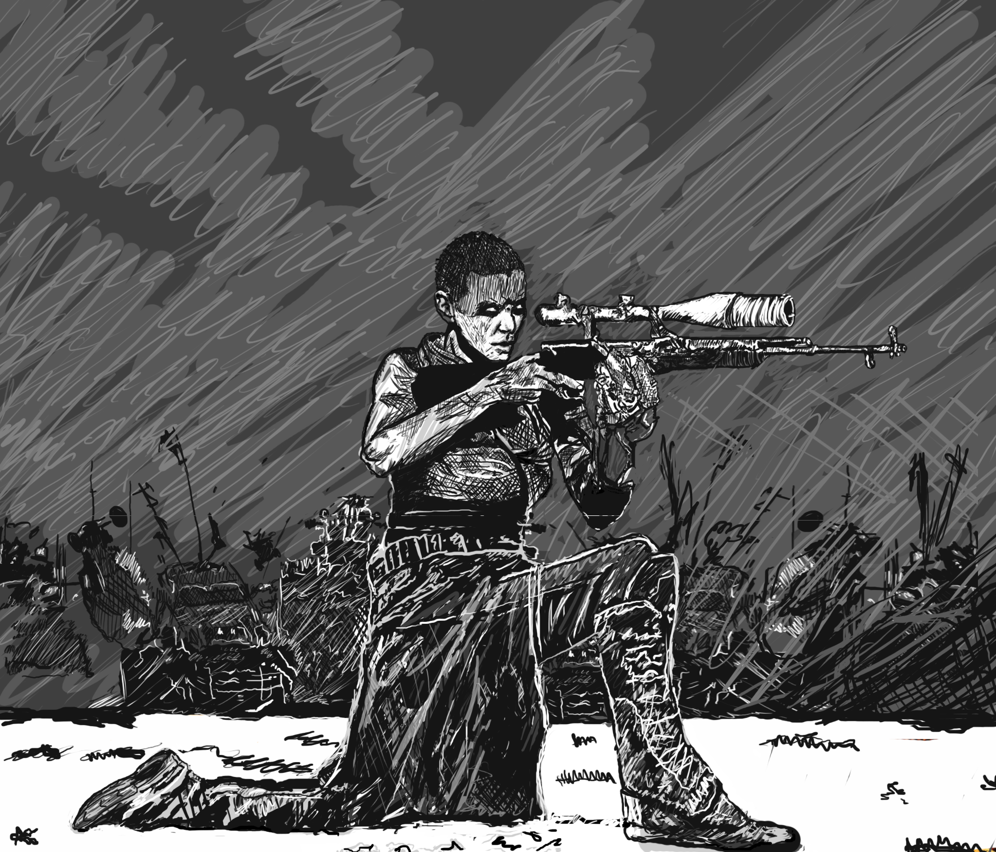 Imperator furiosa sketch with gun