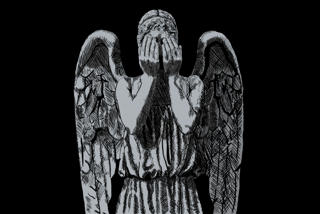 a weeping angel statue holding its hands up to its eyes